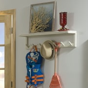 New Ridge Home Goods Beaumont Solid Birch Wood Large Peg Rack with Shelf; Linen