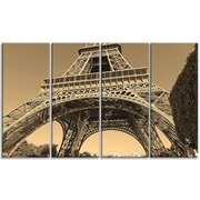 DesignArt 'Iconic Paris Eiffel Tower View from Ground' 4 Piece Wall Art on Wrapped Canvas Set