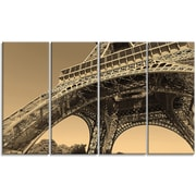 DesignArt 'Iconic Paris Eiffel Tower Side View from Ground' 4 Piece Wall Art on Wrapped Canvas Set