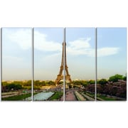 DesignArt 'Paris Eiffel Tower Long View on Midday' 4 Piece Wall Art on Wrapped Canvas Set