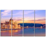 DesignArt 'Parliament and Bridge Over Danube' 4 Piece Wall Art on Wrapped Canvas Set