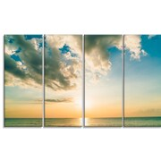 DesignArt 'Clouds Together Over Blue Seashore' 4 Piece Photographic Print on Wrapped Canvas Set