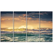DesignArt 'Sunrise and Shining Waves in Ocean' 4 Piece Wall Art on Wrapped Canvas Set