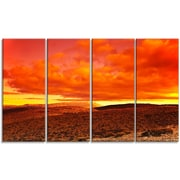 DesignArt 'Dramatic Red Sunset at Desert' 4 Piece Wall Art on Wrapped Canvas Set