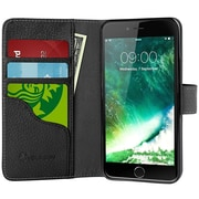 i-Blason Apple iPhone 7 Plus Synthetic Leather Wallet Case - Black (752454313273)