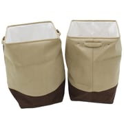 Cathay Importers Milano Microsuede Square Laundry Hamper, Beige and Brown, 2/Pack