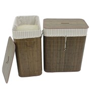 Cathay Importers Tuscany Bamboo Folding Laundry Sorter, Brown, 2/Pack