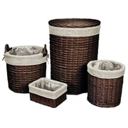 Cathay Importers Willow Round Hamper with Storage Baskets, Espresso, 4/Pack