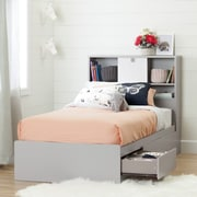 """South Shore Cookie Twin Mates Bed (39"""") with 3 Drawers, Soft Grey"""