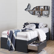 """South Shore Aviron Twin Mates Bed (39"""") with 3 Drawers, Blueberry"""