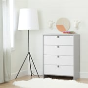 South Shore Cookie 4-Drawer Chest, Soft Grey and Pure White