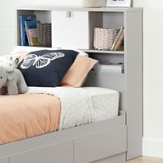 South Shore Cookie Twin Bookcase Headboard (39''), Soft Grey and Pure White