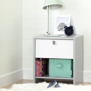 South Shore Cookie 1-Drawer Nightstand, Soft Grey and Pure White