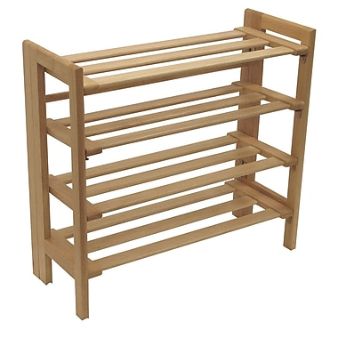 Winsome Shoe Rack, 4-Tier, Natural