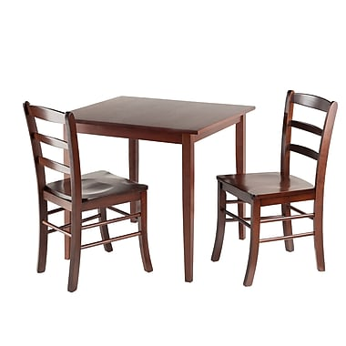 Winsome Groveland Square 3-Piece Dining Table Set, Antique Walnut