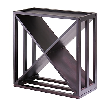 Winsome – Support à vin Kingston, cube modulaire en forme de X, superposable, espresso