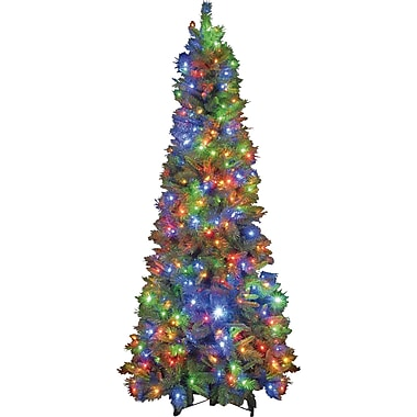 Hometime Snowtime 7.5' Green Pre-Lit New England Pine Artificial Christmas Tree w/ 550 Color Lights