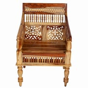 Porter International Designs Taos Maharaja Hand-carved Solid Sustainable Sheesham Arm Chair