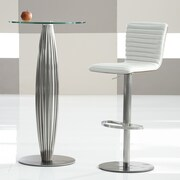 Bellini Modern Living Adjustable Height Bar Stool; Pearl White
