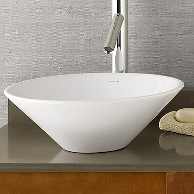 Ronbow Round Geometric Ceramic Vessel Bathroom Sink in White