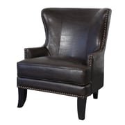 Porter International Designs Grant Bonded Leather Wing-back Arm Chair; Espresso Brown