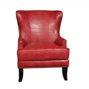 Porter International Designs Grant Bonded Leather Wing-back Arm Chair; Cherry Red