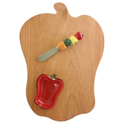 Out of the Woods of Oregon Bell Pepper Board w/ Pepper Bowl & Spreader; Red