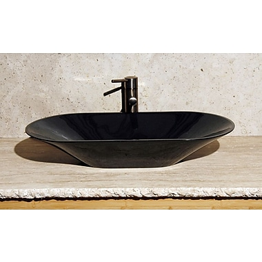 Allstone Group Vessel Bathroom Sink; Black Granite