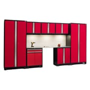 NewAge Products Pro 3.0 Series 8-Piece Garage Storage Cabinet Set w/ Worktop; Red