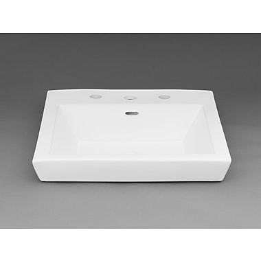 Ronbow Square Tapered Ceramic Semi Recessed Vessel Bathroom Sink; 8'' Centers