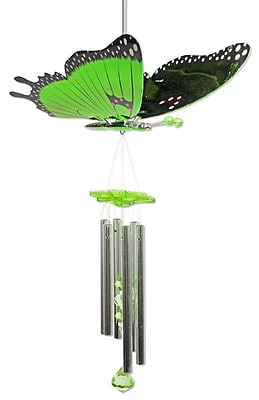 Exhart WindyWings Butterfly Wind Chime; Green