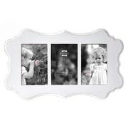 Prinz 3 Opening Annabelle Ashwood Veneer Wood Picture Frame; White