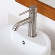 Elite Single Handle Bathroom Sink Faucet with Horizontal Dip Tip Spout; Brushed Nickel