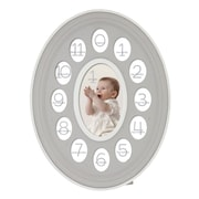 Prinz Thirteen Opening Oval Baby Resin Picture Frame; Gray