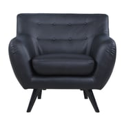 Madison Home USA Mid Century Modern Tufted Bonded Leather Club Chair; Black