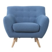 Madison Home USA Mid-Century Modern Tufted Fabric Club Chair; Blue