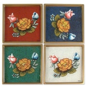 Novica Roses Painted Glass Coaster (Set of 4)