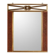 Novica Colonial Love Knot Mohena Wood and Leather Mirror