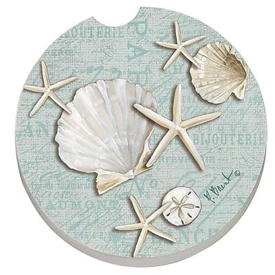 CounterArt Absorbent Stone Linen Shells Seashells Car Coaster (Set of 2) WYF078279300788