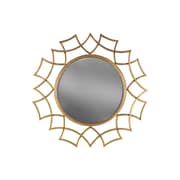 Urban Trends Round Wall Mirror with Sunburst Design Frame; Gold