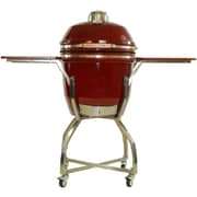 Hanover 19'' Kamado Charcoal Grill with Stainless Steel Cart and Accessories Package; Red
