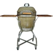 Hanover 19'' Kamado Charcoal Grill with Stainless Steel Cart and Accessories Package; Desert