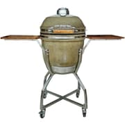 Hanover 19'' Kamado Charcoal Grill with Stainless Steel Cart and Protective Cover; Desert
