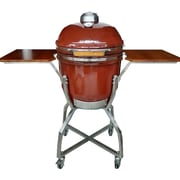 Hanover 19'' Kamado Charcoal Grill with Stainless Steel Cart; Red