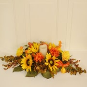 Floral Home Decor Harvest Sunflower Centerpiece w/ Globe and Candle
