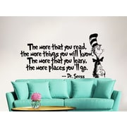 Decal House Dr Seuss the More That You Read Decal Quote Sayings Wall Decal; Soft Pink