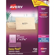 "Avery® Easy Peel® Clear Glossy Laser/Inkjet Address Labels, 1"" x 2-5/8"", 750/Pack, (7660)"