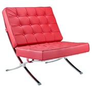 Fine Mod Imports Pavilion Chair in Italian Leather, Red (FMI4000P-red)