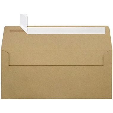 LUX Peel & Press - #10 Square Flap Envelopes (4 1/8 x 9 1/2) - 250/Box - Grocery Bag Brown (4860-GB-250)