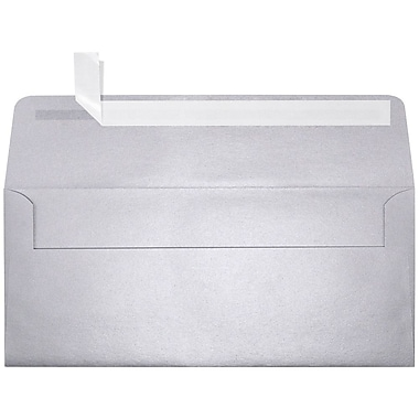 LUX Peel & Press #10 Square Flap Envelopes (4 1/8 x 9 1/2) 1000/Box, Silver Metallic (5360-06-1000)